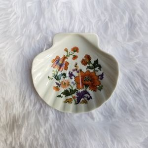 Vintage Floral Seashell Porcelain Jewelry Dish